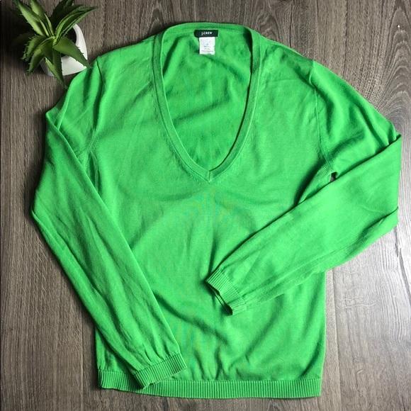 J. Crew Sweaters - J. Crew V-neck Sweater Preppy Kelly Green